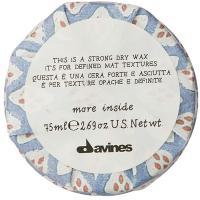 Воск сухой Davines More Inside для текстурных матовых акцентов, 75 мл