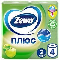 Бумага туалетная Zewa Плюс Яблоко, 2-х слойная, 4 шт