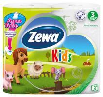 Бумага туалетная ZEWA Deluxe 3-х слойная, детская, 4 шт.