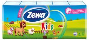 Платки носовые бумажные ZEWA 3-х слойные, детские, 10 шт.