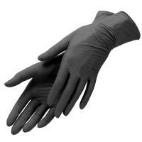 Перчатки виниловые Мой Салон одноразовые, черные, размер M, 50 пар