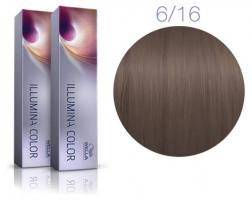 Крем-краска стойкая Wella Professionals ILLUMINA Color для волос 6/16 Темный блонд, пепельный фиолетовый, жемчужно-пепельный, 60 мл