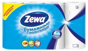 Полотенца бумажные ZEWA 2-х слойные, 4 шт.