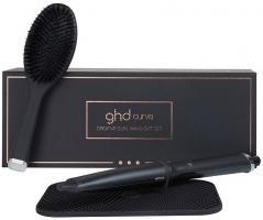 Набор подарочный GHD с термостойкими ковриком и перчаткой, овальная щетка + конусная плойка curve