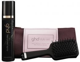 Набор подарочный GHD в косметичке, щетка для волос + термозащитный спрей