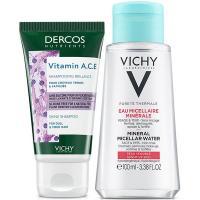 Набор Vichy Travel Kit 2021, шампунь для блеска Dercos Nutrients Vitamin A.C.E, 50 мл + вода мицеллярная Purete Thermale, 100 мл